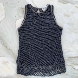 EMANUEL EMANUEL UNGARO GRAY BEADED MESH TOP SZ PS